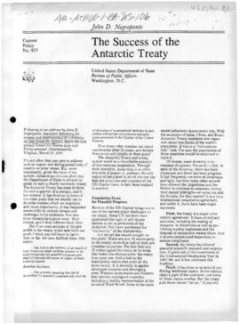 "John Negroponte ""The success of the Antarctic Treaty"" Current Policy, and related articles"