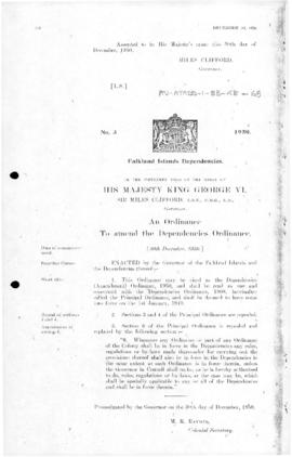 Falkland Islands Dependencies, ordinance to amend the Dependencies Ordinance, no 3 of 1950