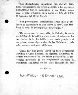 Argentine memorandum setting out the grounds for the Argentine claims to the Falkland (Malvinas) Islands and Antarctic territories ( extract)