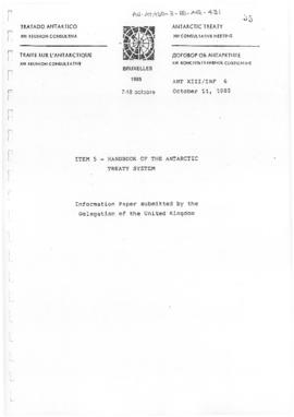 "Thirteenth Antarctic Treaty Consultative Meeting (Brussels) Information paper 6 ""Handbook of the Antarctic Treaty System"" (ANT XIII/INF 6) (United Kingdom)"