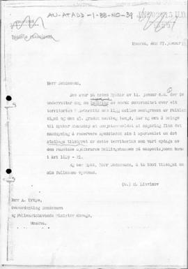 Soviet note to Norway reserving the position of the Soviet Government with regard to the Norwegia...