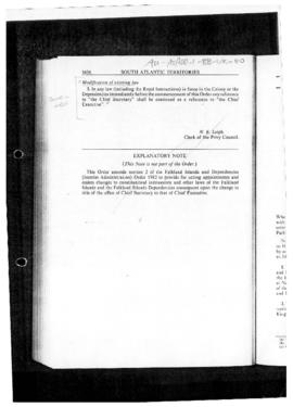 United Kingdom, Falkland Islands and Dependencies (Interim Administration) Order 1982