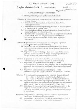 Australian Heritage Commission Criteria for the Register of the National Estate