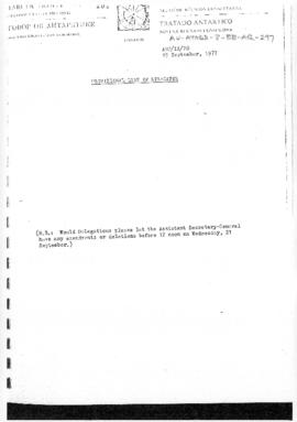 "Ninth Antarctic Treaty Consultative Meeting (London) Working paper 20 ""Provisional list of d..."
