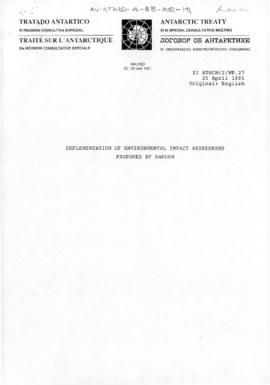 Eleventh Special Antarctic Treaty Consultative Meeting, second session (Madrid), working paper. X...