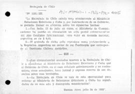 Chilean reservation of rights following issue of Argentine stamps showing Antarctic territory claimed by Chile, and Argentina's reply