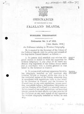 Falkland Islands, Wireless Telegraphy Ordinance, no 3 of 1912