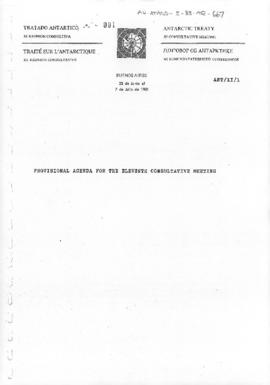 "Eleventh Antarctic Treaty Consultative Meeting (Buenos Aires), Working paper 1 ""Provisional Agenda for the Eleventh Consultative Meeting"" (ANT/XI/1)"