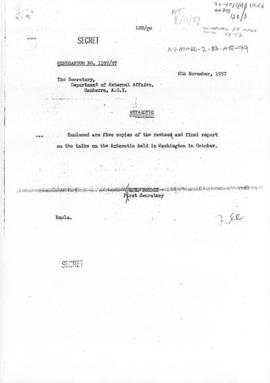 Australian memorandum conveying a report on informal talks in Washington concerning the Antarctic...