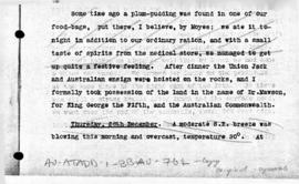 Australasian Antarctic Expedition, Report of Frank Wild taking possession of land at Possession Rocks, Queen Mary Land