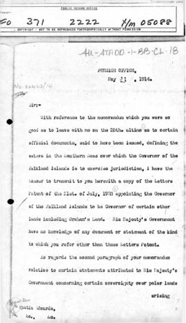 British note to Chile providing information sought concerning British claims to certain territory