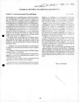 United States, National Security Division memorandum 71 concerning Antarctic policy