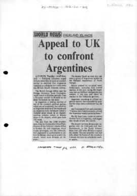 Press article 'Appeal to UK to confront Argentines' Canberra Times and a related article