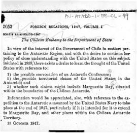Chilean memorandum to the United States seeking the United States' views on certain Antarctic matters