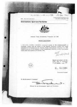 Commonwealth of Australia Gazette, Antarctic Treaty (Environment Protection) Act 1980, Proclamation
