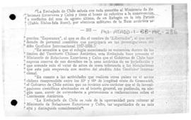 "Chilean note to Argentina concerning the establishment of the Argentine Shelter ""Libertador"" in Chilean Antarctic Territory"
