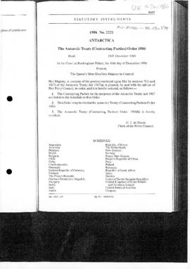United Kingdom, Antarctic Treaty (Contracting Parties) Order, no 2221 of 1986
