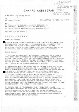 Cablegram SC19989 concerning the fifteenth Antarctic Treaty Consultative Meeting