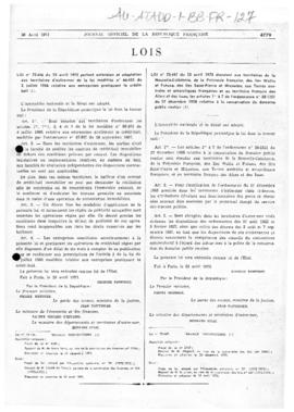France, Law no. 73-447 concerning conservation of French territories