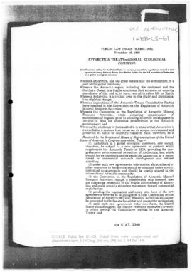 United States, Law 101-620 (SJ Res 206): Antarctica Treaty - Global Ecological Commons