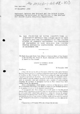 Agreement between New Zealand and the United States concerning facilities to support US Antarctic expeditions