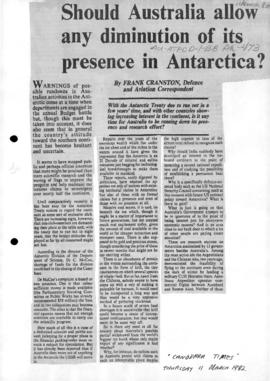 "Cranston, Frank ""Should Australia allow any diminution of its presence in Antarctica?"" Canberra Times"