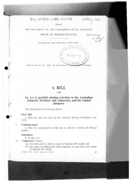 Australia, House of Representatives, Antarctic Mining Prohibition Bill and Explanatory Memordandum