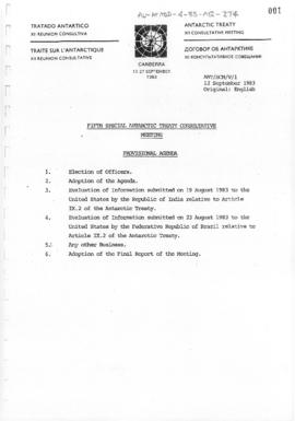 "Fifth Special Antarctic Treaty Consultative Meeting (Canberra) Working paper 1 ""Provisional ..."