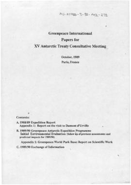 Greenpeace international, papers for XV Antarctic Treaty Consultative Meeting, Paris
