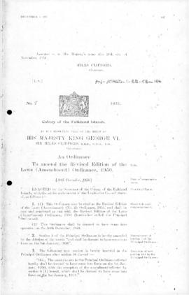 Falkland Islands, Revised Edition of the Laws (Amendment) (No. 2) Ordinance, no 7 of 1951