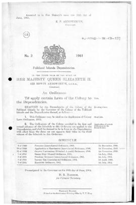 Falkland Islands Dependencies, Application of Colony Laws Ordinance, no 2 of 1961