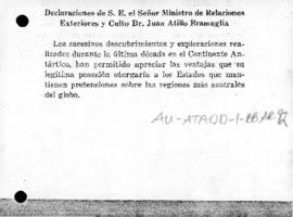 Argentine statement with reference to its rights in Antarctica and means of adjustment of claims of other American states