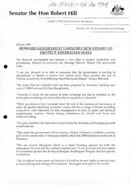"Minister for the Environment and Heritage, Robert Hill ""Howard Government Launches new effort to protect Australian seals"""