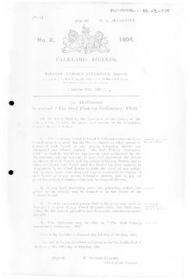 Falkland Islands, Seal Fishery Amendment Ordinance, no 8 of 1904