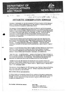 "Department of Foreign Affairs and Trade ""Antarctic Conservation Seminar"""