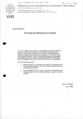 "International Institute for Environment and Development ""Special Report on the Antarctic Minerals Convention"" Lee A Kimball"