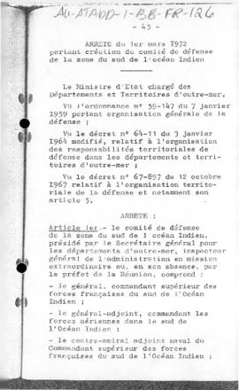 France, Orders concerning the Defence Committee of the Southern zone of the Indian Ocean