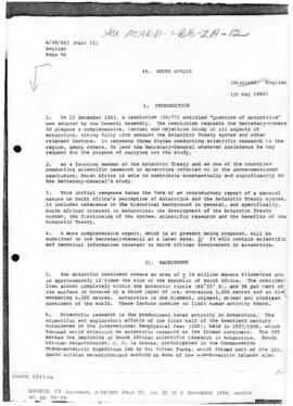 South Africa and Antarctica, United Nations General Assembly, document A/39/583(Part II)