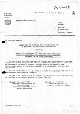 United Nations General Assembly, Thirty-Eighth Session, Request for the inclusion of a supplement...