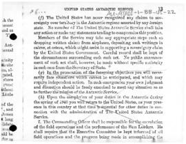 Instructions from President Roosevelt to the commanding officer of the United States Antarctic Se...