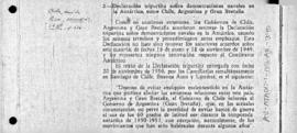Tripartite naval declaration between Argentina, Chile and the United Kingdom; also renewal of agreement in 1952 and 1953