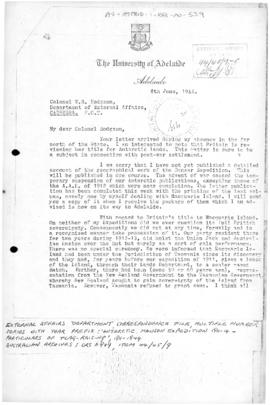 Letter from Douglas Mawson concerning sovereignty at Macquarie Island