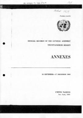 United Nations General Assembly, 24th session, correspondence concerning the Falkland Islands/Islas Malvinas
