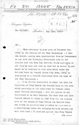 Norwegian note to the UK querying the status of the Ross Ice Shelf, the basis of claim to King Ed...