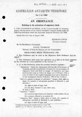 Australia, Migratory Birds Ordinance 1980 of the Australian Antarctic Territory
