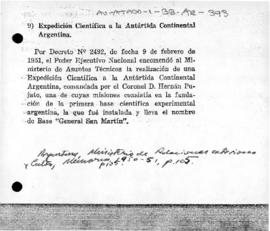Argentina, Decree 2492 concerning the establishment of an Antarctic scientific expedition