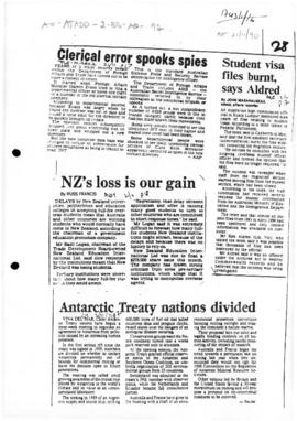 "Press article ""Antarctic Treaty nations divided"", and other articles related to the mee..."