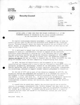 "Argentine note to the United Nations Security Council concerning the Argentine base ""Corbeta Uruguay"" on the South Sandwich Islands (S/15230)"