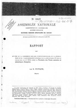 "France, Assemblée Nationale, ""Rapport"" report concerning Kerguelen, Amsterdam and Crozet Islands"