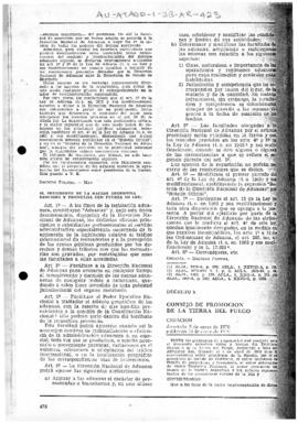Argentina, Decree 8 establishing a Council for the promotion of Tierra del Fuego